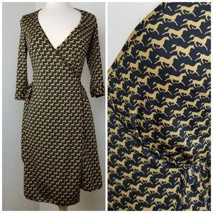 Horse Print Wrap Dress- Fieldston